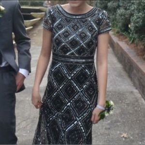 Adrianna Papell Black/Silver Fully Beaded Gown